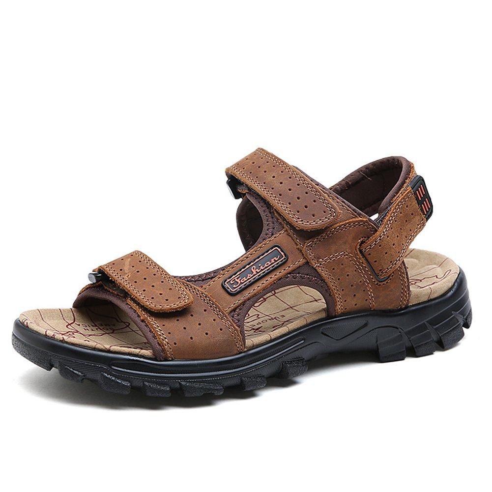 Toptak Sandalias De Cuero para Hombre Zapatos con Correa Marrón para Caminar Al Aire Libre Verano,US7.0-EU40,US8.0-EU42 US8.0-EU42