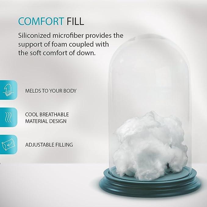 Sleepgram Pillow Adjustable Loft Soft Hypo Microfiber Standard Queen Size