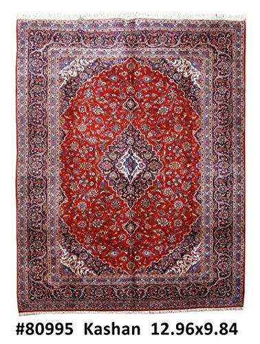 (Persian Kashan Authentic Carpet Royal Handmade Rug 10x13)