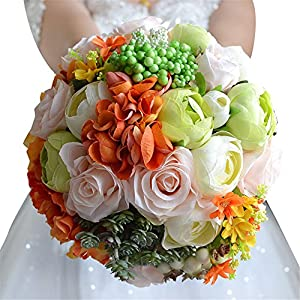 KUPARK Artificial Roses Peony Dahlia Flowers Blossom with Succulent Plant Articical Decor Bridal Bridesmaid Home Decoration Wedding Bouquet with Wrist Flower 9