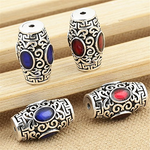 Luoyi 1pc Tibetan Style Antique Silver Enamel Tube Bead, Mixed Color, 1912mm, Hole: 1mm (T008L) (Blue)