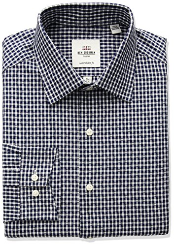 Ben-Sherman-Mens-Dobby-Gingham-Spread-Slim-Fit-Dress-Shirt