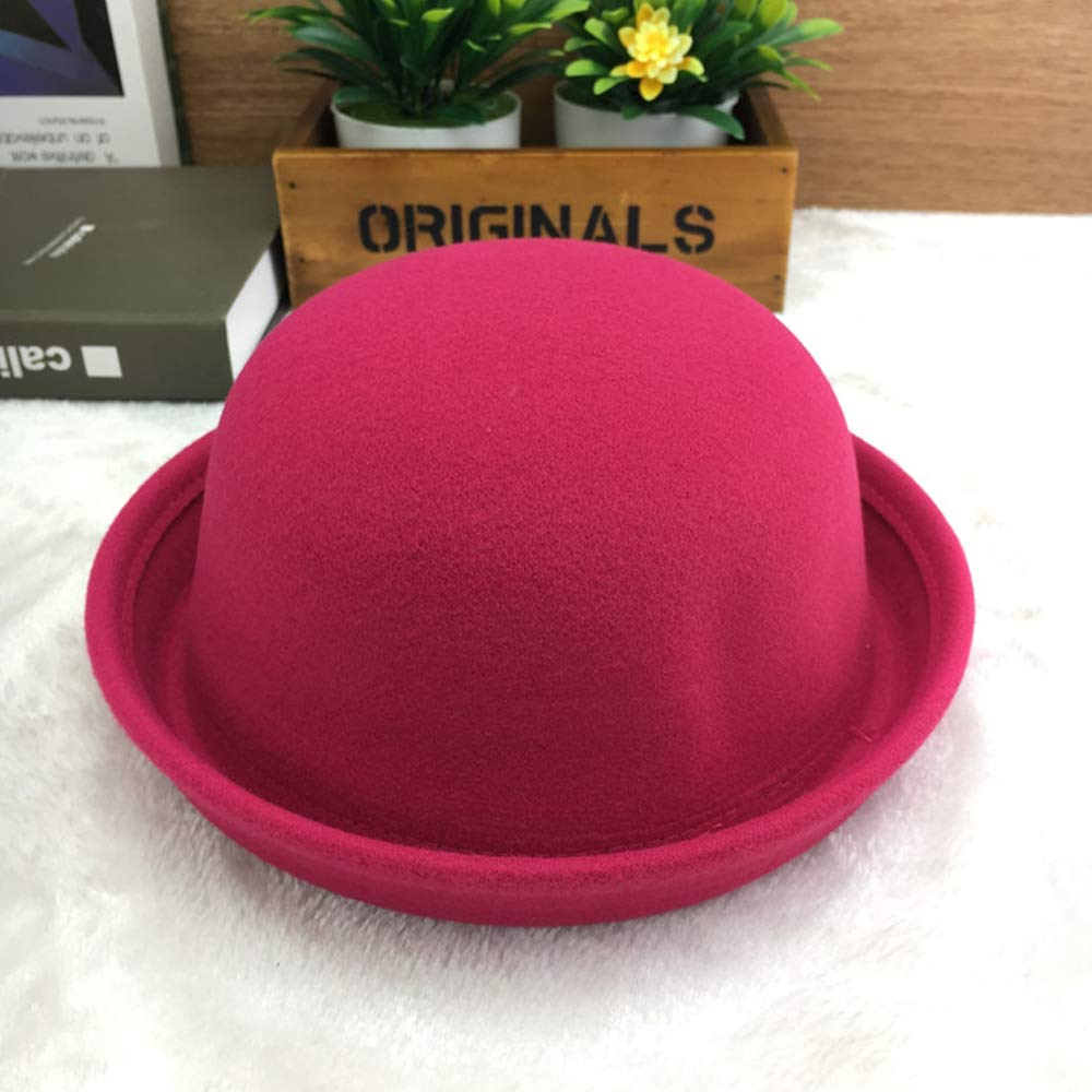 Goodplan Mode Vintage Melone Frauen Roll Krempe Hut Filzhut Erwachsene Hut Headwear Zubeh/ör Rose Rot 1 St/ücke