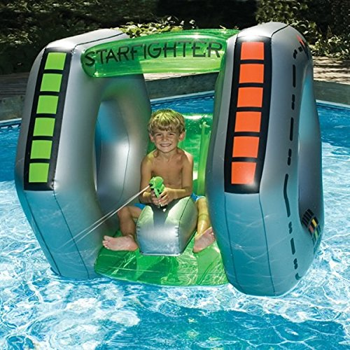 MD Group Inflatable Ride-On Pool Toys Starfighter Super Squirter 1 Person Rafts Heavy Guage PVC Vinyl (Ufo Float)