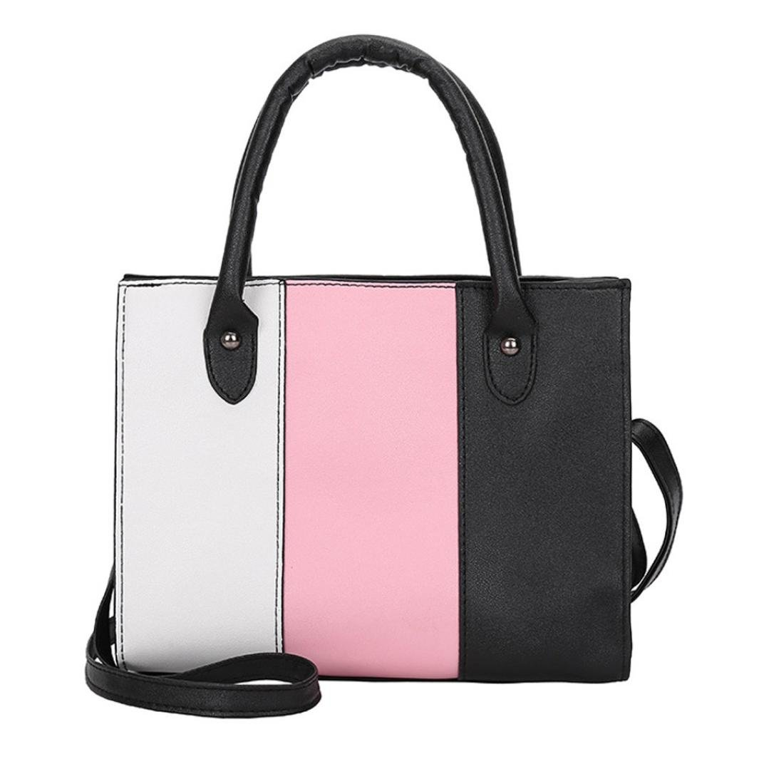 Small Bags For Women,Woman Tote Casual Bags Crossbody Bag Hit color Leather Handbag Shoulder Bag Large Tote Ladies Purse Leather Shoulder Bags Satchel Messenger Bag Duseedik Clearance (Pink)