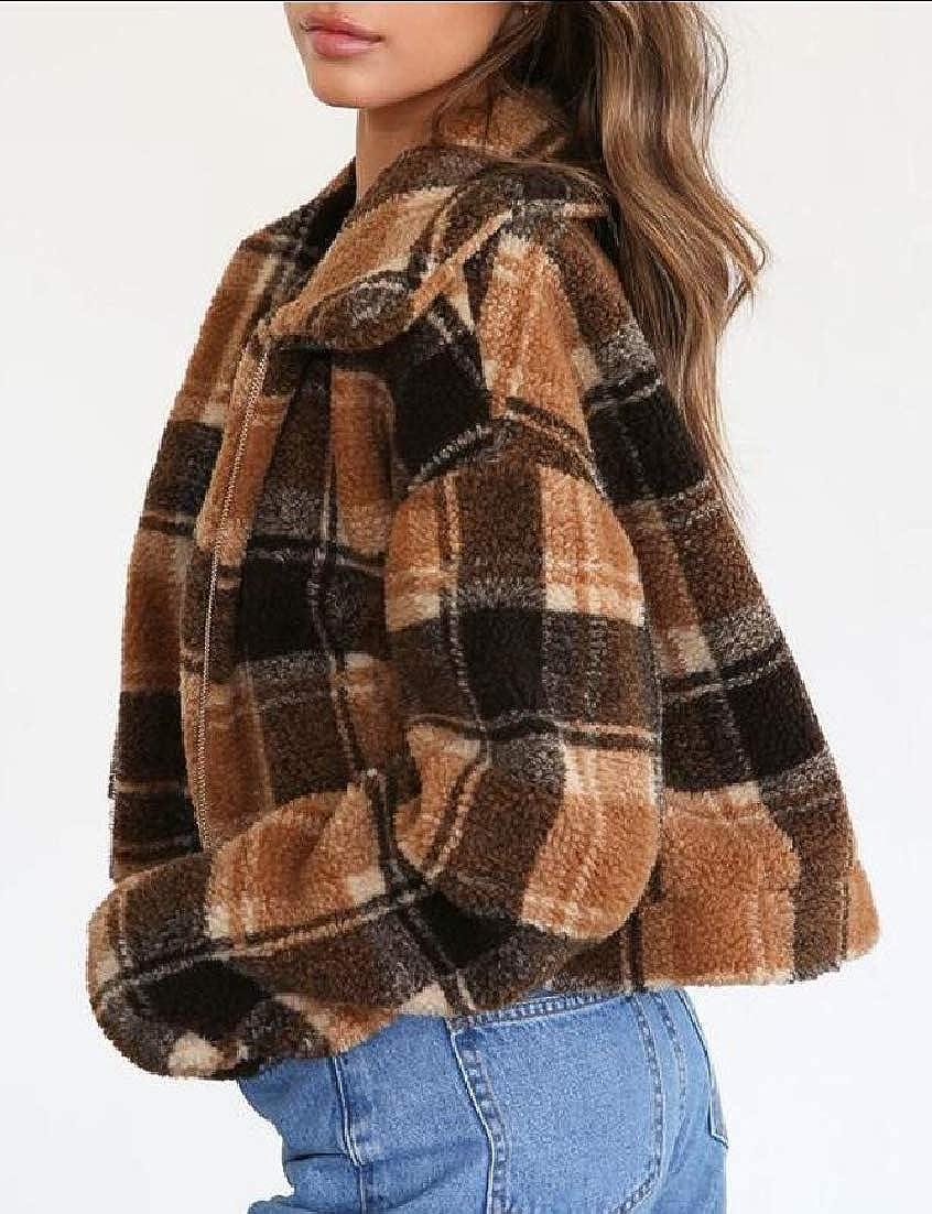 XQS Womens Coat Outwear Sweatshirt Top Fuzzy Fleece Pullover Jacket