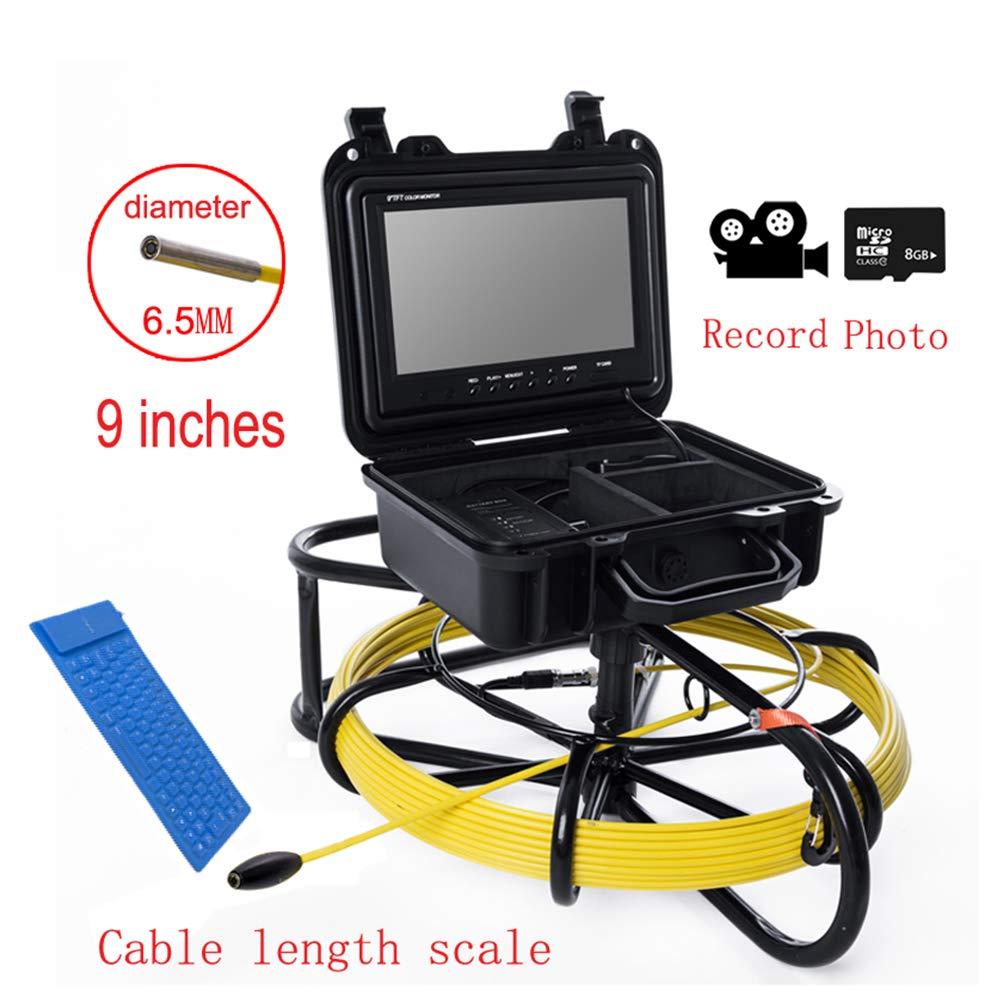 9インチ6.5ミリメートル工業用パイプライン下水道検知カメラIP68防水排水検知1000 TVL DVR機能,40M  40M