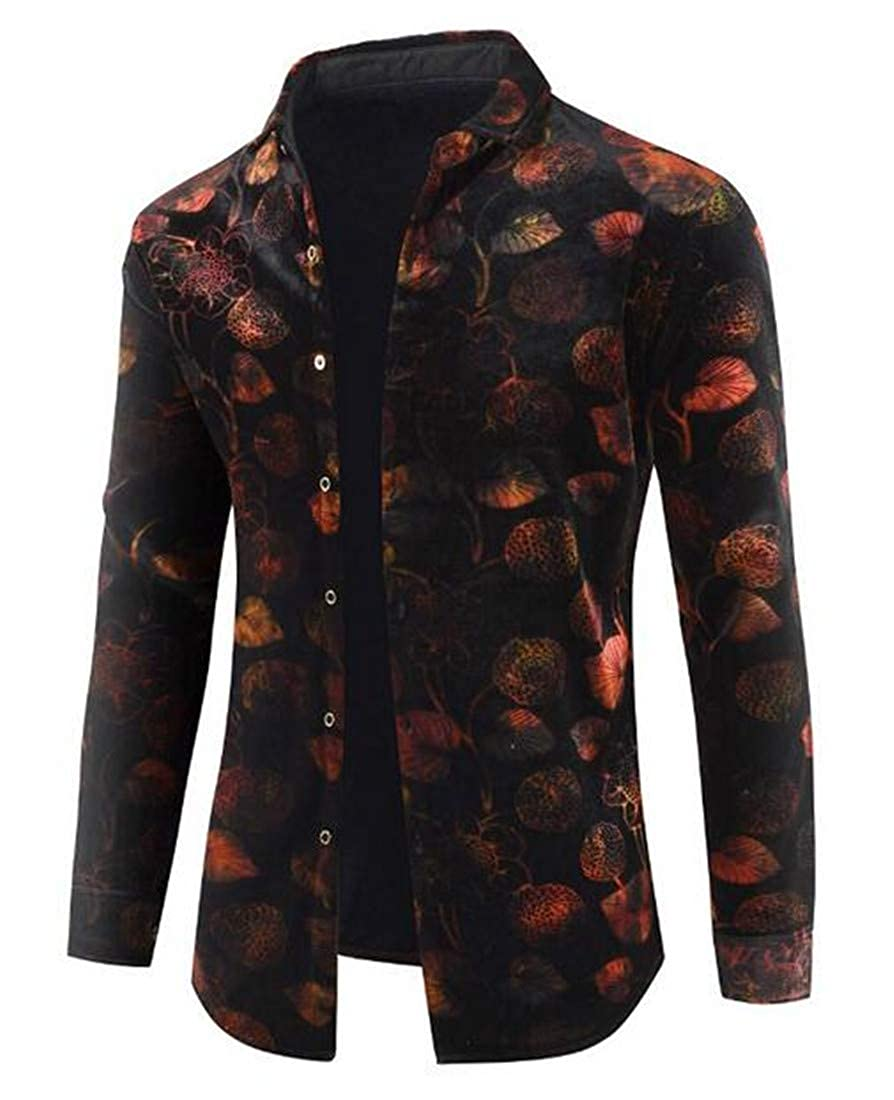 Domple Mens Thick Long Sleeve Leisure Print Fleece Lined Button up Dress Shirts