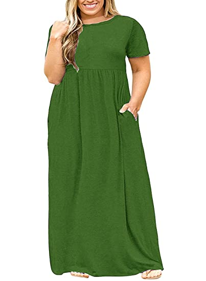 40cff8f9363 Image Unavailable. Image not available for. Color  Syktkmx Womens Plus Size  Maternity Short Sleeve Empire Waist Summer Maxi Dress ...