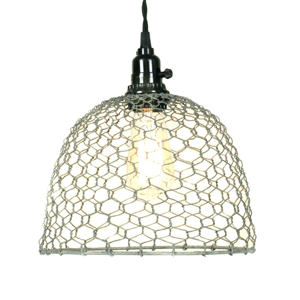 Primitive Chicken Wire Dome Pendant Light in Barn Roof Finish ...