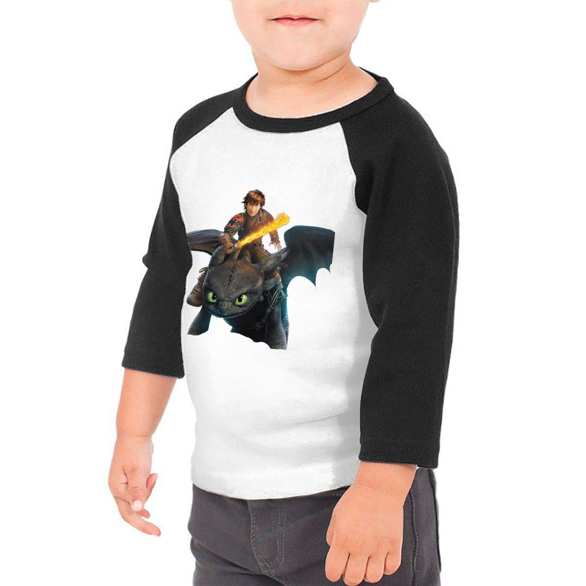 BowersJ How to Train Your Dragon Kids 3//4 Sleeve Raglan Baseball T Shirt Girls /& Boys Black