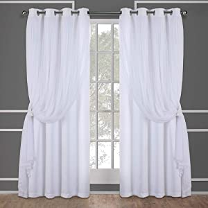 Exclusive Home Curtains Catarina Layered Solid Blackout and Sheer Window Curtain Panel Pair with Grommet Top, 52x108, Winter White, 2 Piece