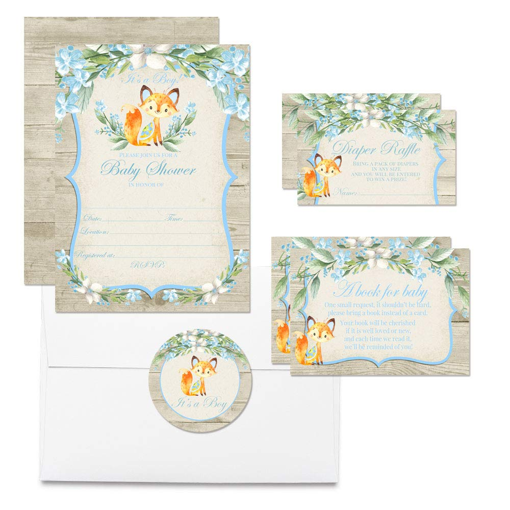 Deluxe Watercolor Woodland Fox Baby Shower Party Bundle for Boys, Includes 20 each of 5''x7'' Fill In Invitations, Diaper Raffle Tickets, Bring a Book Cards & 2'' Thank You Favor Stickers w/ Envelopes