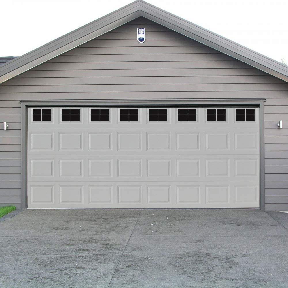 Decorative Magnetic Garage Door Window Panels Vinyl Thick Faux Tinted Glass Decals Pre Cut 16 Sheets for 1 Car Garage
