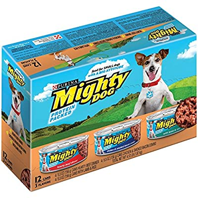 Mighty Dog Variety Pack. Hearty Beef Dinner, Chicken &Smoked Bacon Combo, Lamb & Rice. 12 - 5.5 oz Cans