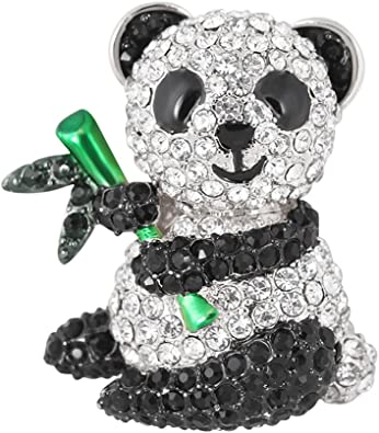 Black and Clear Crystal on Silver Plated Adorable Panda Brooch