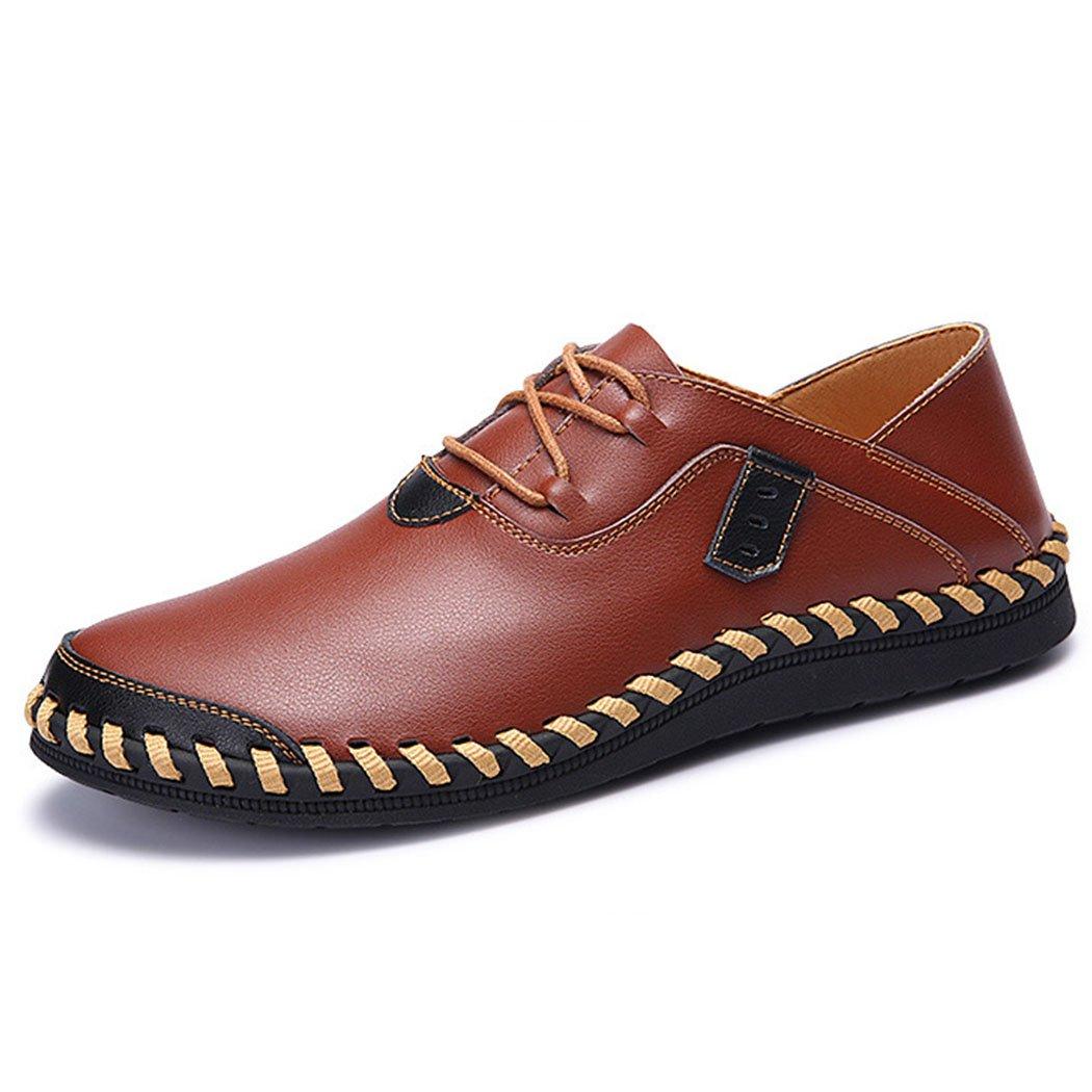 GAOLIXIA Zapatos de Negocios de Cuero Genuino de los Hombres Zapatos Casuales de Fondo Suave Zapatos de Trabajo de Moda Transpirable Zapatos Casuales al Aire Libre para Caminar de Gran Tamaño 38-47 41|Marrón