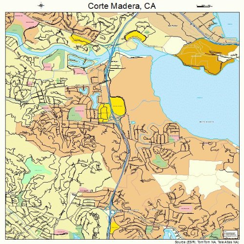 Large Street & Road Map of Corte Madera, California CA - Printed poster size wall atlas of your home - Corte Map Of Madera Ca