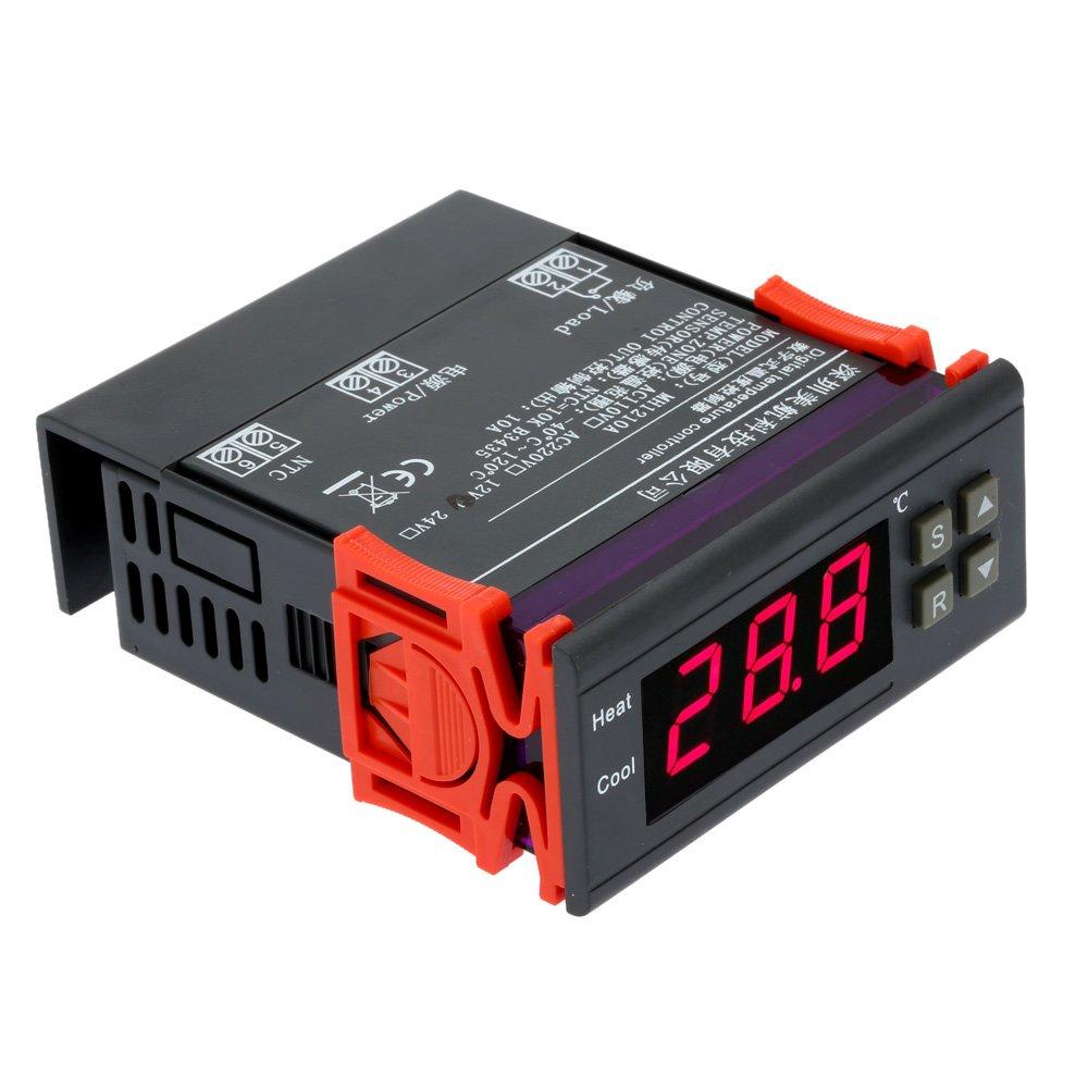 DE|Digital Temperaturregler 220V 10A LCD Display Heizung Kühlung Thermostat 0.1℃