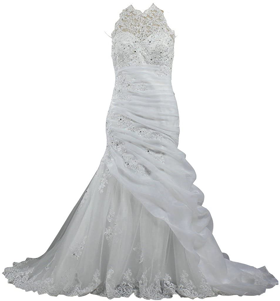 Ants Womens Organza Lace Mermaid Bridal Wedding Gowns Sleeveless At