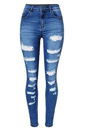 dfc2c711fe80f Femmes Hommes Dchen Femmes Distressed Haute D Été Taille Déchiré Chic Jeune  Lavé Jeans Boyfriend Denim Pantalon Trou Jeans Pantalon Pantalon   Amazon.fr  ...