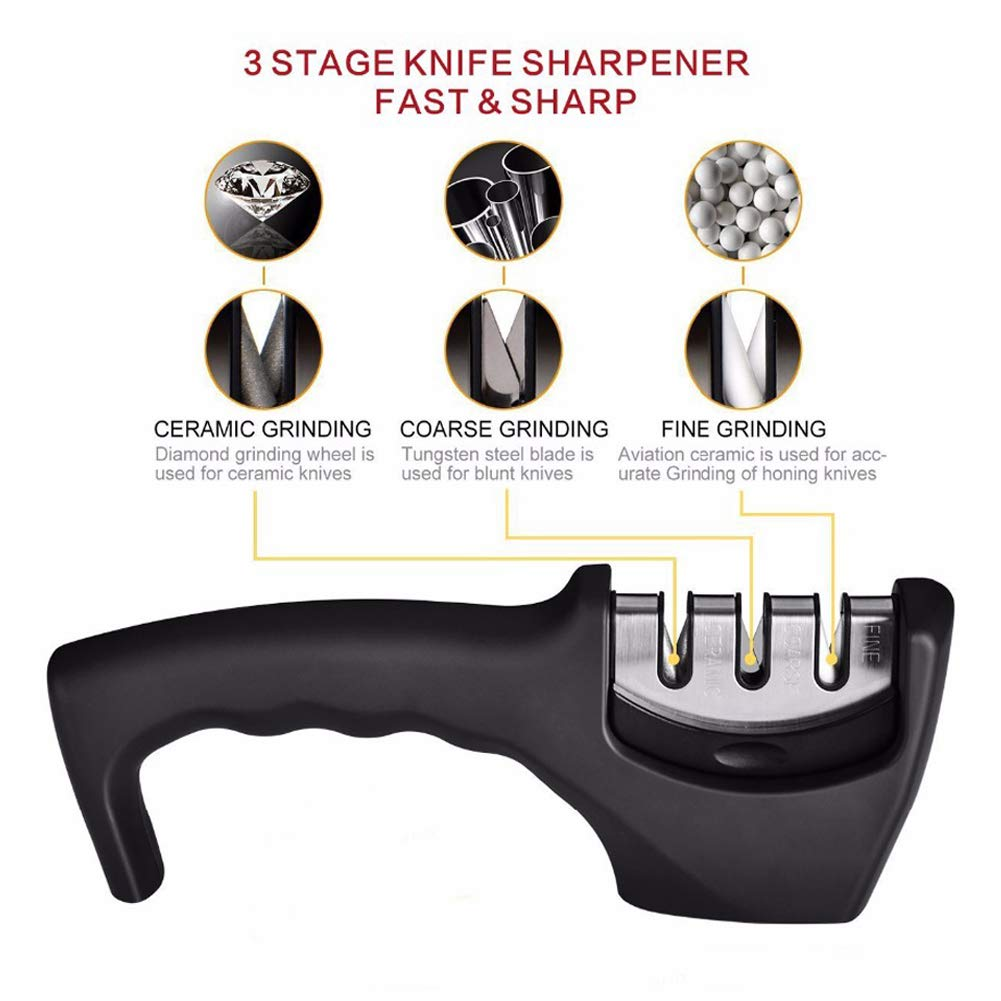 Knife Sharpener, Ceramic Knife Sharpening Stone Tungsten Steel Diamond Sharpener 3 Stage for Knives Kitchen Tools