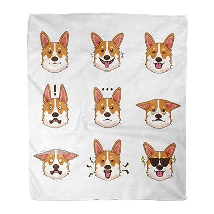 6f64d888eb1f Amazon.com: Golee Throw Blanket Face of Corgi Dog Emoji Emoticon ...