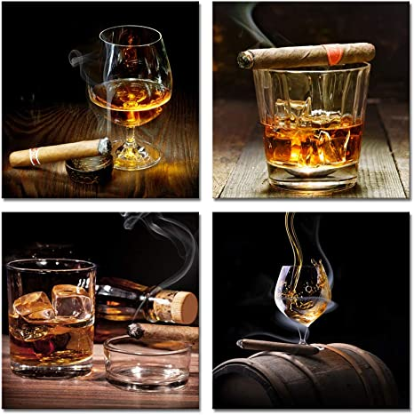 Amazon Com Pyradecor Cigar Wine Whisky Canvas Prints Wall Art Liquor Still Life Pictures Paintings For Kitchen Bar Pub Home Decorations 4 Piece Modern Stretched Ready To Hang Artwork Posters Prints