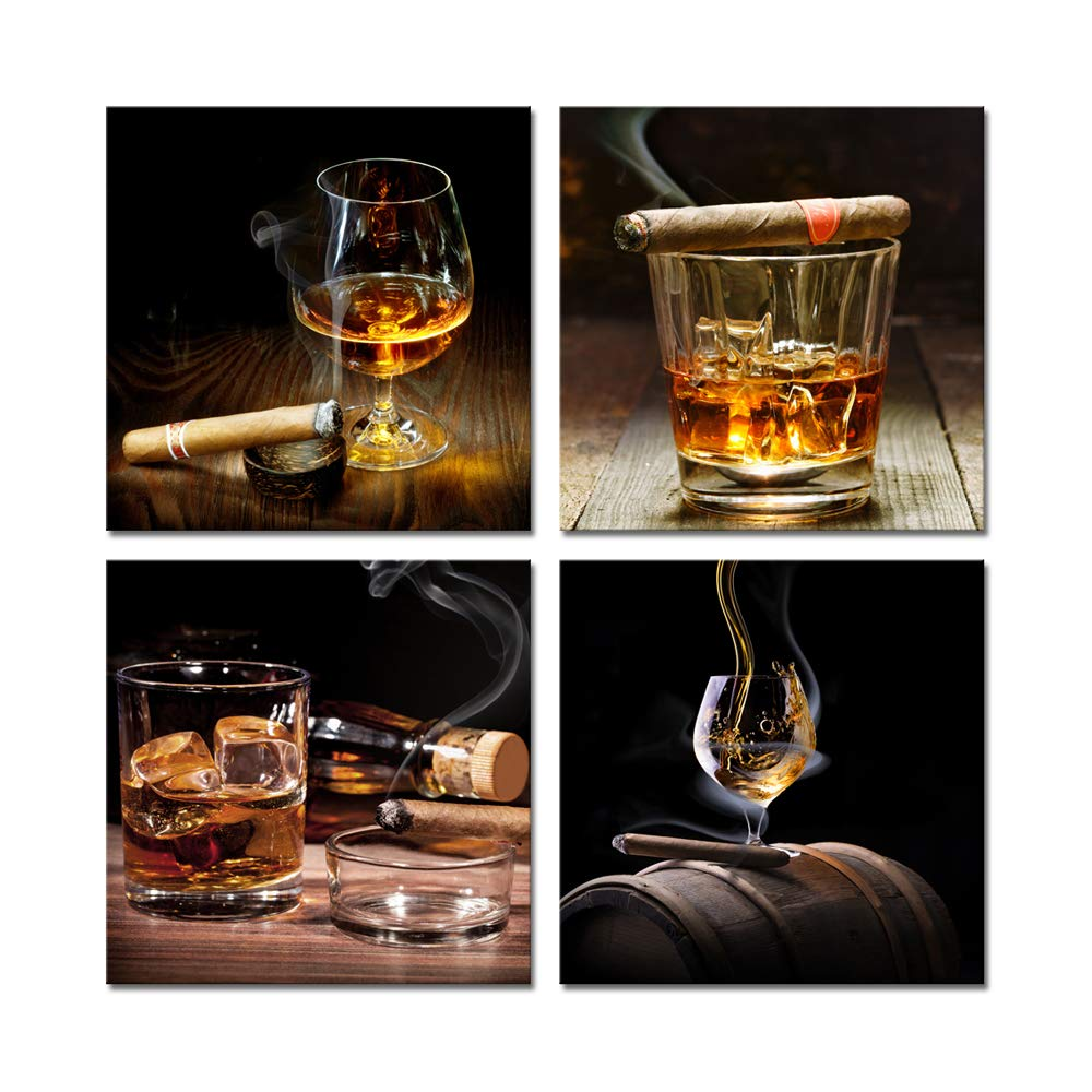 Pyradecor Cigar Wine Whisky Canvas Prints Wall Art Liquor Still Life Pictures Paintings for Kitchen Bar Pub Home Decorations 4 Piece Modern Stretched and Framed Ready to Hang Giclee Artwork