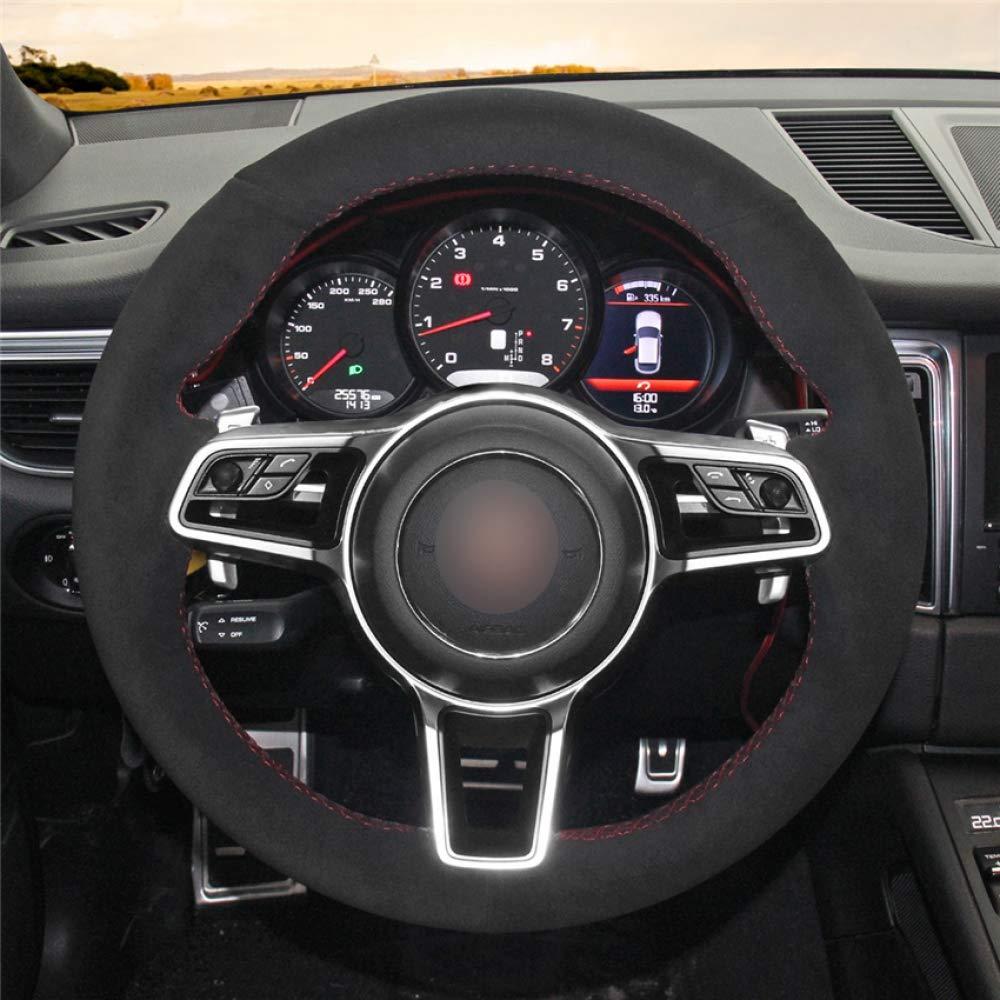 HCDSWSN Coprivolante per Auto in Pelle Scamosciata Nera Morbida Resistente e Confortevole da Cucire a Mano per Porsche Macan Cayenne 2015 2016