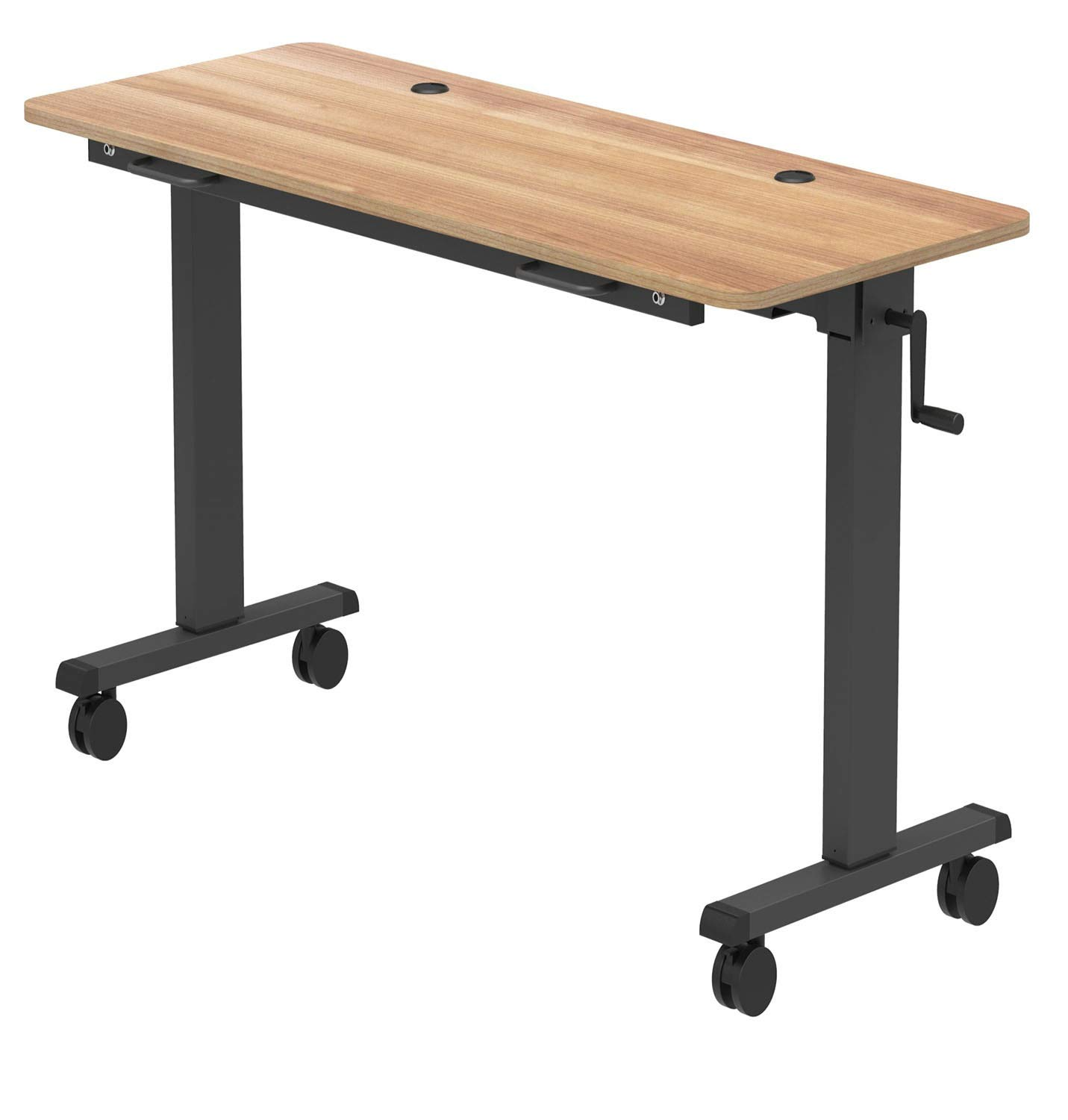 Stand Up Desk Store Adjustable Height Training Table – Flip Top Table Conveniently Nests and Rolls Away for Easy Storage (Natural Walnut, 60'')