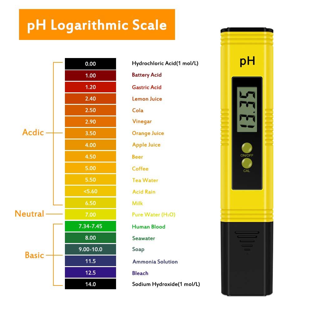 Piscina alimentaria Piscina funci/ón ATC para el hogar Vegena Medidor de PH medidor de Valor PH Digital Calidad de Agua medidor de pH con Pantalla LCD Termo Acuario Agua Potable hidrop/ónico