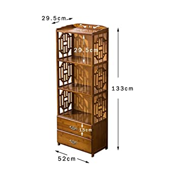 Rack Shelf Bookshelf Chinese Simple Bookcase Floor Creative Combination Student Bookshelf Nan Bamboo Shelves Living Room