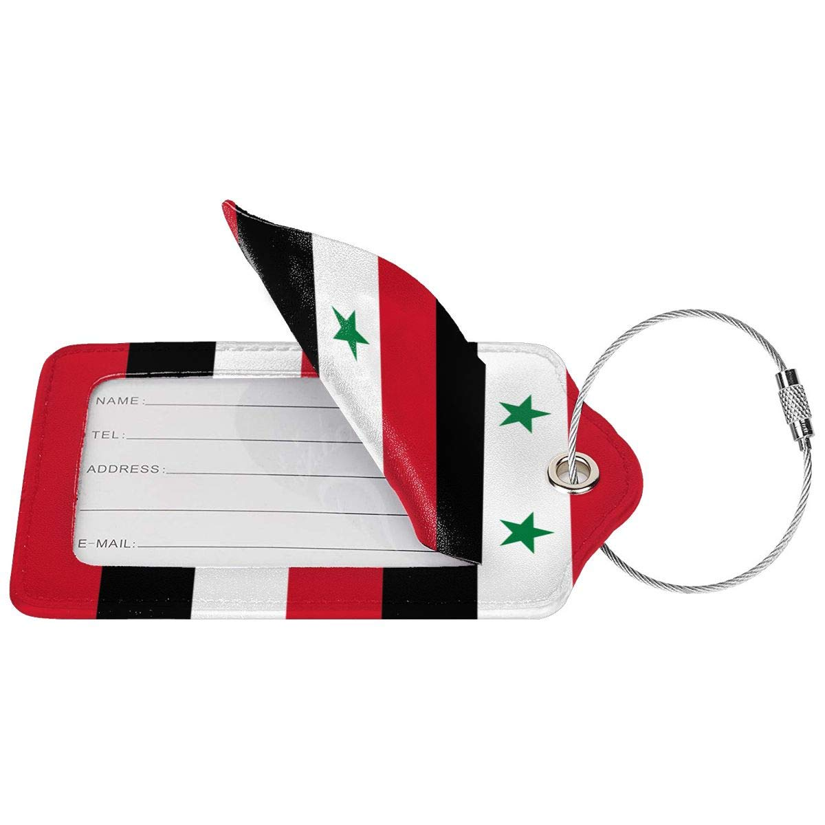 Flag Of Syria Leather Luggage Tags Personalized Travel Accessories With Adjustable Strap