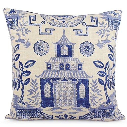 Fabric Toss Pillow - Chloe & Olive Geometric Teahouse Pagoda Asian Throw Toss Pillow - Blues and Beige - Custom 18