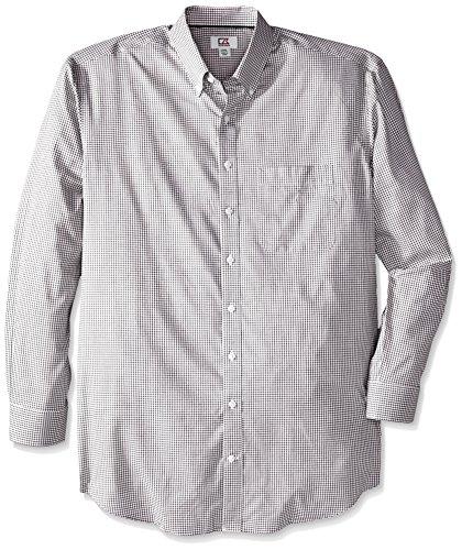 Dress Cutter Shirt Cotton & Buck (Cutter & Buck Men's Big-Tall Long Sleeve Epic Easy Care Tattersall Shirt, Black, 3X-Large/Tall)