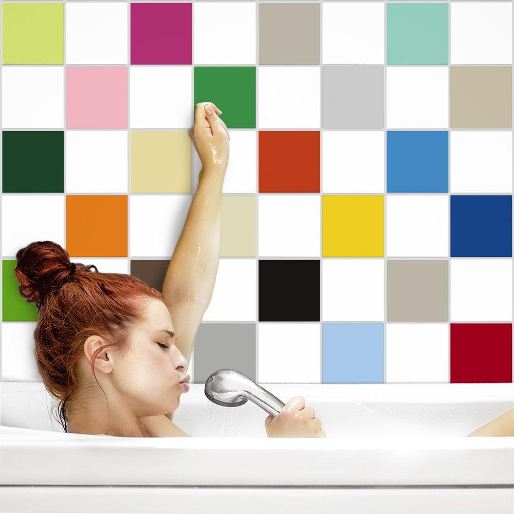 PrintYourHome PrintYourHome PrintYourHome Fliesenaufkleber für Küche und Bad   einfarbig weiß matt   Fliesenfolie für 20x20cm Fliesen   152 Stück   Klebefliesen günstig in 1A Qualität B0719R9FC9 Fliesenaufkleber 06a1f8