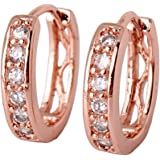 GULICX Jewellery Clear Cubic Zirconia Rose Gold Electroplated Hoop Huggie Earrings for Girl Diameter 15mm