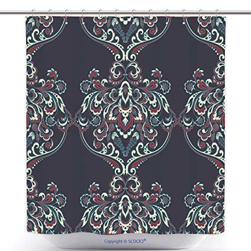 Durable Shower Curtains Vintage Floral Seamless Patten Classic Baroque Wallpaper Seamless Vector Background 522884179 Polyester Bathroom Shower Curtain Set With Hooks (Nautica Bathroom Sets)