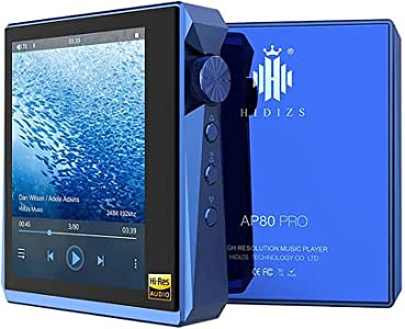 HIDIZS AP80 Pro HiFi MP3 Music Player Bluetooth LDAC/aptX/FLAC/Hi-Res Audio/FM Radio Audio Player with Full Touch Screen (Blue)