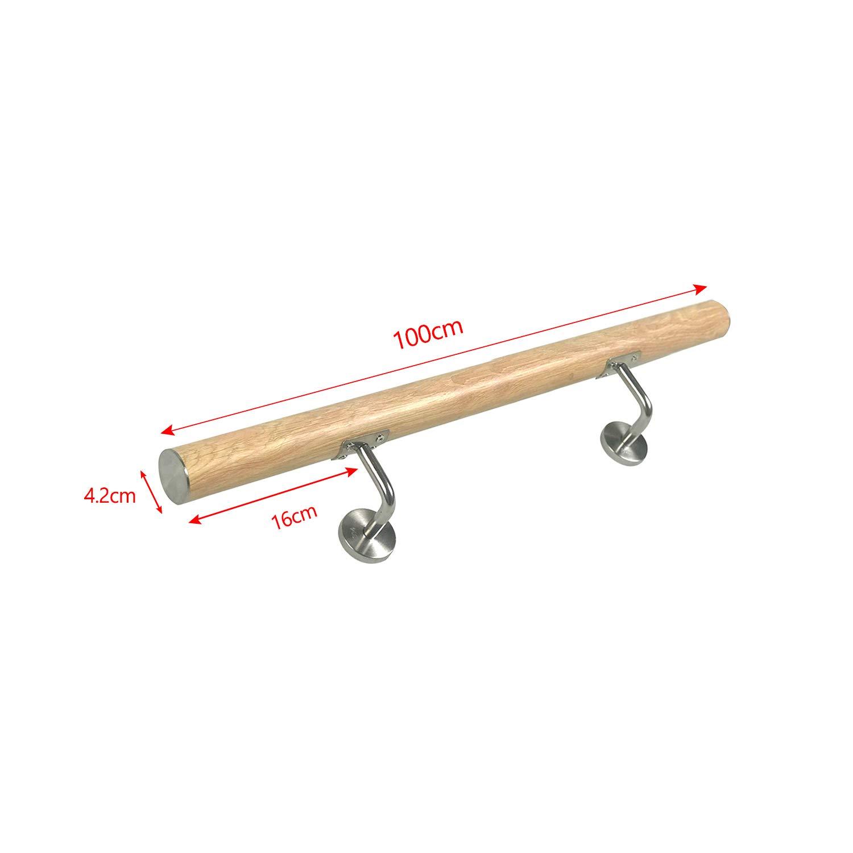 balaustrada MCTECH 120cm pasamanos escalera de madera acero inoxidable,soporte de pared para interiores y exteriores 120cm,color oscuro balc/ón