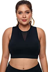 6e61e631d57 Lucklovell Women Sexy Plus Size High Neck Sleeveless Sport Bra ((US 18-20