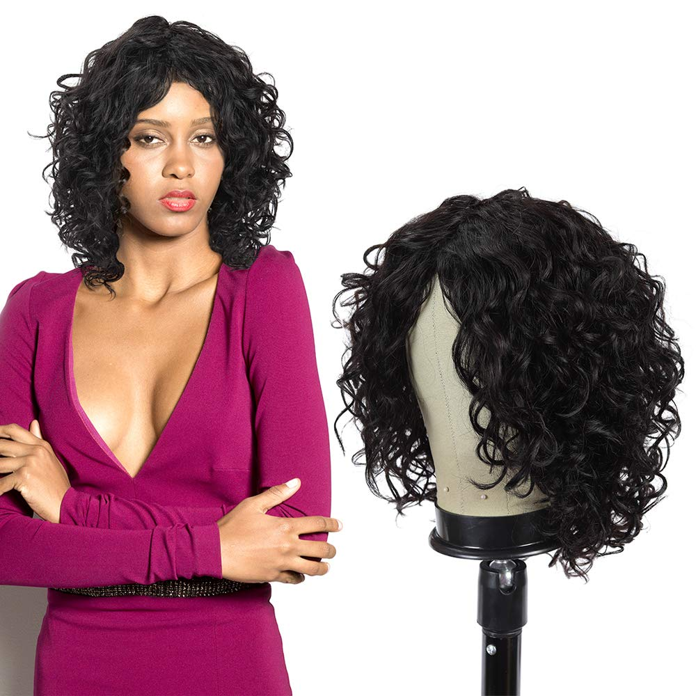 Short Deep Curly 100% Brazilian Virgin Human Hair Wigs for Women Middle