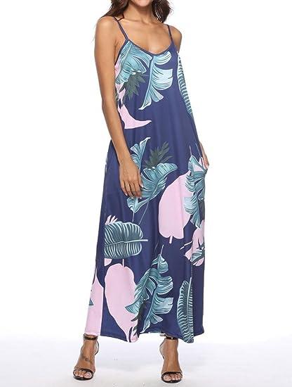 Vestidos sin mangas para mujer, con correa de espagueti, estampado floral, verano, noche, fiesta, playa, bohemio, vestidos largos small blanco: Amazon.es: ...