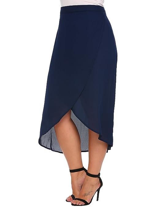 7aefdcd8aac Amazon.com  Vestyle Plus Size High Waist Front Slit Irregular Chiffon Midi  Skirt for Women  Clothing