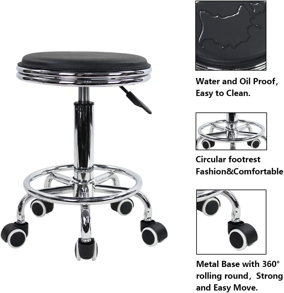 KKTONER Round Rolling Stool with Foot Rest PU Leather Height Adjustment Modern Industrial Metal Style Swivel Spa Salon Tattoo Work Massage Stools Small (Black): Kitchen & Dining