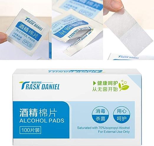 XFZDP 100 Unids/Caja Desinfección de Alcohol Desechable Láminas de Algodón Lentes Lente Teléfono Vajilla Esterilización de Heridas: Amazon.es: Hogar