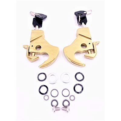Locking Detachable Latch Kit Rotary Docking Latch Cam Lock Kit with Screw Caps for Harley Davidson HD Dyna Softail Sportster Touring Sissy Bar Luggage Rack (Gold, 2 latches & both with keys): Automotive [5Bkhe0112193]