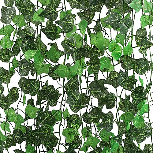 Fake Ivy Leaves (AGEOMET 20pcs Artificial Ivy Fake Vine Leaves Hanging Garlands Plants Artificial Leaves Flowers for Wedding Garden Home Wall Party Office Kitchen Decoration Each 94.5)