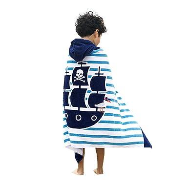 Boys Girls Hooded Poncho Beach Towel - Kids Cotton Bathrobe Swim Bath  Blanket Super Absorbent Non d6a803411